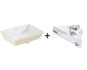 GROHE Cube Ceramic - umywalka podblatowa 3948000H + GROHE Lineare – 2-otworowa bateria umywalkowa Chrom 23444001