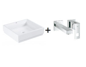 GROHE Cube Ceramic - umywalka nablatowa 3948100H +  Grohe Eurocube - bateria umywalkowa ścienna 2-otworowa Chrom 19895