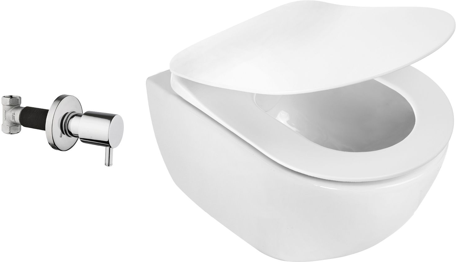 Deante Peonia Zero Miska WC z funkcją bidetu z zaworem podtynkowym 51x36 cm biały CDB_6WPW
