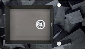 Deante Capella Zlewozmywak szklano-granitowy 1-komorowy z ociekaczem 86x50 cm antracyt/szkło betonowy blok ZSC_TB2C