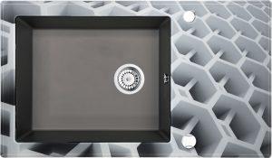 Deante Capella Zlewozmywak szklano-granitowy 1-komorowy z ociekaczem 86x50 cm antracyt/szkło heksagon ZSC_TC2C