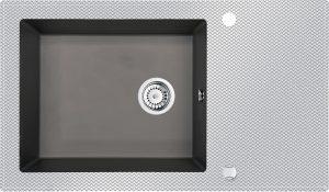 Deante Capella Zlewozmywak szklano-granitowy 1-komorowy z ociekaczem 86x50 cm antracyt/szkło cross ZSC_TK2C