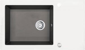 Deante Capella Zlewozmywak szklano-granitowy 1-komorowy z ociekaczem 86x50 cm antracyt / biały ZSC_TW2C