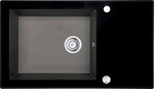 Deante Capella Zlewozmywak szklano-granitowy 1-komorowy z ociekaczem 86x50 cm antracyt / szkło czarne ZSC_TX2C