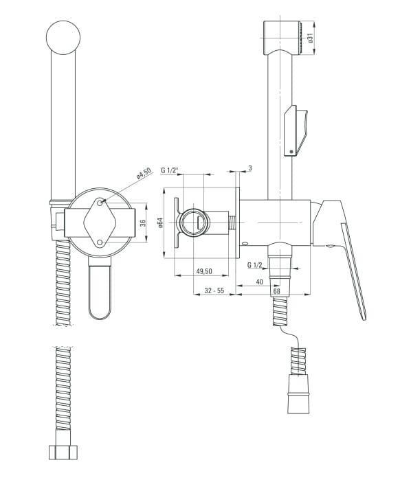 Zdjęcie Deante Jasmin Nero Bateria bidetowa podtynkowa ze słuchawką typu bidetta czarny BGJ_N34M