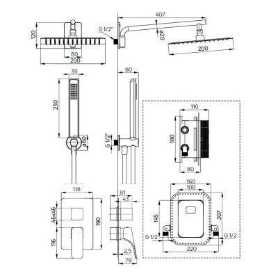 Zdjęcie Deante Box Zestaw podtynkowy termostatyczny biały BXYZAECT
