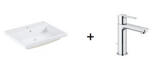GROHE Cube Ceramic - umywalka podblatowa 3947900H + GROHE Lineare Bateria umywalkowa, DN 15 Rozmiar S 32114001