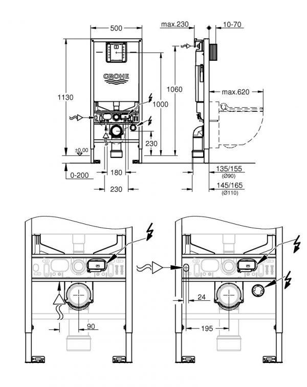 Zdjęcie Grohe Rapid SLX Zestaw instalacyjny 3 w 1, 1,13 m 39598000 .