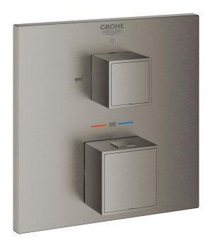 Grohe Grohtherm Cube Termostatyczna bateria wannowa do obsługi dwóch wyjść wody brushed hard graphite 24155AL0