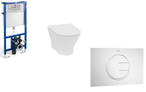 Stelaż podtynkowy do wc 3/6L Roca PRO A890090020 + Przycisk Roca PL4 2-funkcyjny biały A890098000 + Miska WC podwieszana Rimless z deską wolnoopadającą SLIM (zestaw) Roca Nexo 53,5×36 cm biały A34H64L000