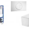 Zdjęcie Stelaż podtynkowy do wc 3/6L Roca PRO A890090020 + Przycisk Roca PL4 2-funkcyjny biały A890098000 + Miska WC wisząca Aquahome Amber 49x37cm bezrantowa z deską slim wolnoopadającą biały