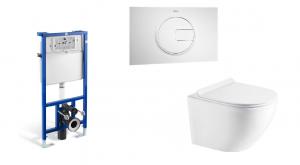 Stelaż podtynkowy do wc 3/6L Roca PRO A890090020 + Przycisk Roca PL4 2-funkcyjny biały A890098000 + Miska WC wisząca Aquahome Amber 49x37cm bezrantowa z deską slim wolnoopadającą biały