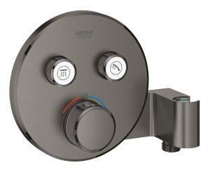 Grohe Grohtherm SmartControl Bateria termostatyczna do obsługi dwóch wyjść wody, ze zintegrowanym przyłączem i uchwytem prysznicowym hard graphite 29120AL0