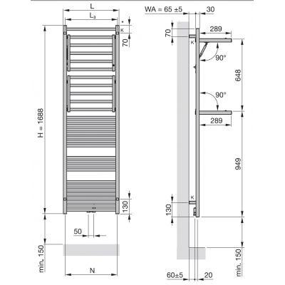 Zdjęcie Grzejnik łazienkowy Zehnder Zeno Wing 168,8×60 cm biały ZW-170-060-05/ RAL 9016