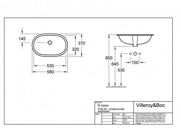 Zdjęcie Umywalka podblatowa Villeroy & Boch O.Novo 53×32 cm weiss Alpin 41625001