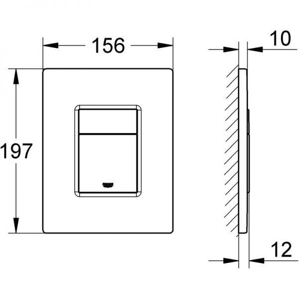 Zdjęcie Stelaż Grohe Rapid SL do WC ściennego 38536001 + GROHE Skate Cosmopolitan – przycisk uruchamiający do spłuczki podtynkowej hard graphite 38732A00