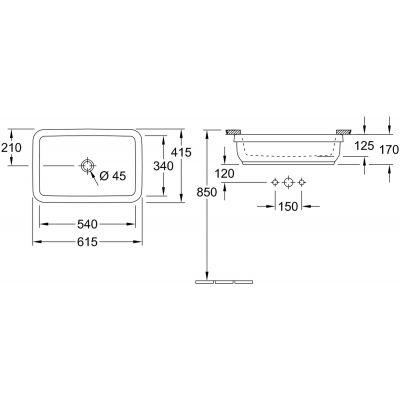 Zdjęcie Umywalka podblatowa prostokątna Villeroy & Boch Architectura 54×34 cm weiss alpin 41776001