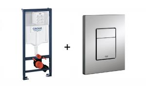Stelaż Grohe Rapid SL do WC ściennego 38536001 + Przycisk uruchamiający Grohe Skate Cosmopolitan 38732BR0