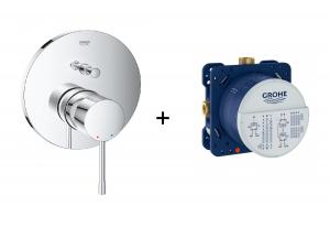 Podtynkowa bateria do obsługi dwóch wyjść wody Grohe Essence chrom 24058001 + Uniwersalny element podtynkowy Grohe Rapido SmartBox 35600000