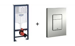 Stelaż Grohe Rapid SL do WC ściennego 38536001 + GROHE Skate Cosmopolitan – przycisk spłukujący 38732P00