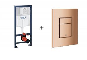 Stelaż Grohe Rapid SL do WC ściennego 38536001 + GROHE Skate Cosmopolitan – przycisk uruchamiający do spłuczki podtynkowej Warm sunset 38732DA0