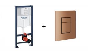 Stelaż Grohe Rapid SL do WC ściennego 38536001 + Skate Cosmopolitan przycisk uruchamiający brushed warm sunset 38732DL0