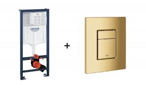 Stelaż Grohe Rapid SL do WC ściennego 38536001 + GROHE Skate Cosmopolitan – przycisk uruchamiający do spłuczki podtynkowej cool sunrise 38732GL0