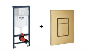 Stelaż Grohe Rapid SL do WC ściennego 38536001 + GROHE Skate Cosmopolitan – przycisk uruchamiający do spłuczki podtynkowej brushed cool sunrise 38732GN0