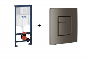 Stelaż Grohe Rapid SL do WC ściennego 38536001 + GROHE Skate Cosmopolitan – przycisk uruchamiający do spłuczki podtynkowej brushed hard graphite 38732AL0