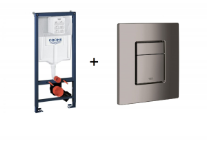 Stelaż Grohe Rapid SL do WC ściennego 38536001 + GROHE Skate Cosmopolitan – przycisk uruchamiający do spłuczki podtynkowej hard graphite 38732A00