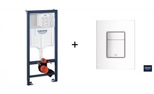Stelaż Grohe Rapid SL do WC ściennego 38536001 + Skate Cosmopolitan – przycisk spłukujący biel alpejska 38732SH0