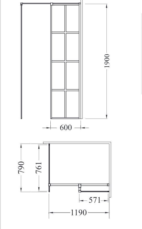 Zdjęcie Kabina prostokątna Walk-In przejrzyste szkło Besco Excea 120x80x190 cm EXC-128-190B