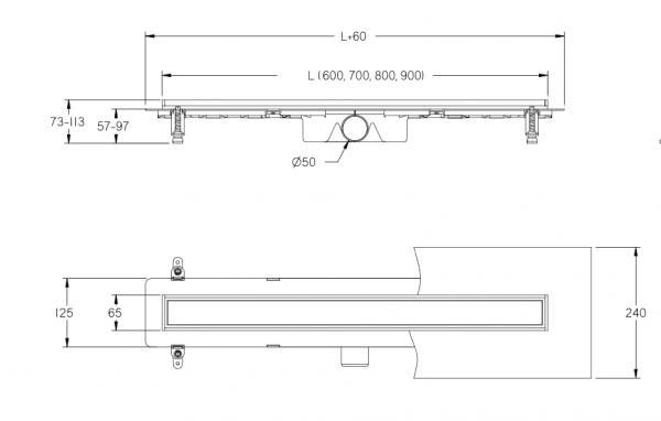 Zdjęcie Odpływ liniowy 2-w-1 Besco Virgo Basic 70 cm OL-70-VB
