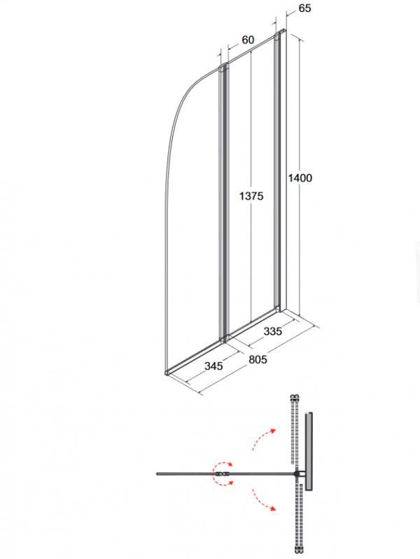 Zdjęcie Parawan nawannowy 2-skrzydłowy przejrzyste szkło Besco Ambition 2 80.5×140 cm PA-2S