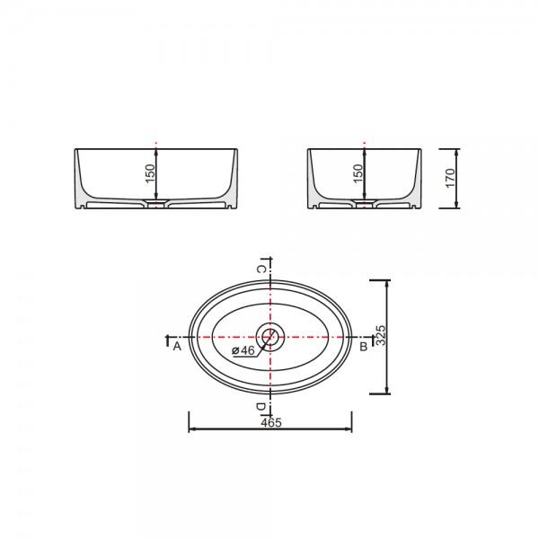 Zdjęcie Umywalka nablatowa Besco Uniqa B&W 32x46x17 cm czarny/biały UMD-U-NBW