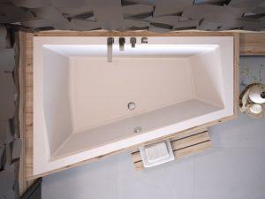 Wanna asymetryczna prawa Besco Intima Duo 170x125 cm biały WAID-170-NP