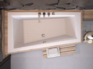 Wanna asymetryczna lewa Besco Intima Slim 150x85 cm biały WAIT-150-SL