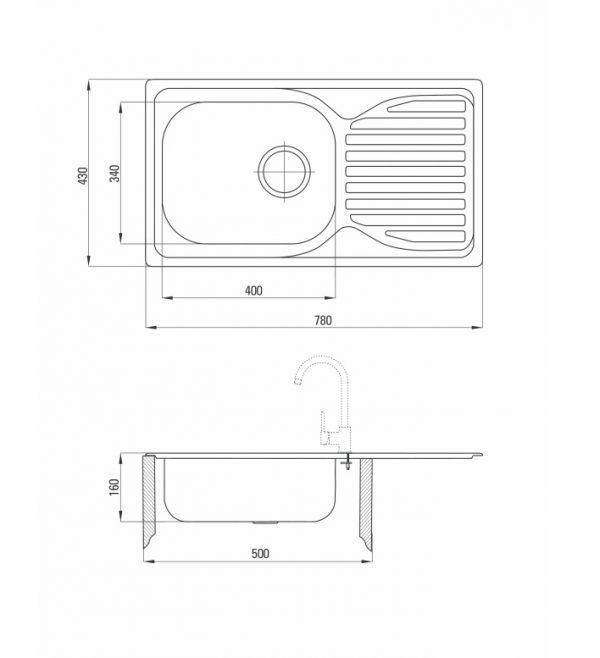 Zdjęcie Deante Doppio Zestaw zlewozmywak stalowy 1-komorowy z ociekaczem + bateria zlewozmywakowa stojąca ZENB0113