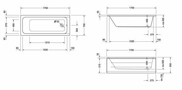 Zdjęcie Wanna prostokątna Duravit D-Code 170×70 cm do zabudowy biały 700098000000000
