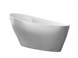 Wanna wolnostojąca srebrna Besco Keya 165x70 cm srebrny WMD-165-KS