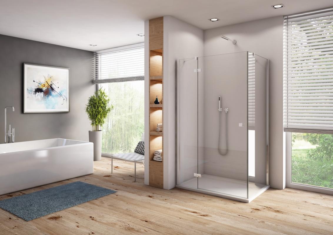 Drzwi prysznicowe uchylne SanSwiss Annea 90x200 cm ze ścianką stałą lewe, srebrny połysk AN13G09005007