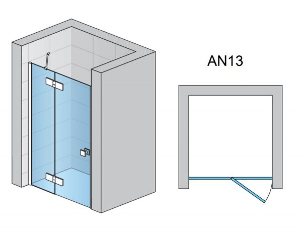 Zdjęcie Drzwi prysznicowe uchylne SanSwiss Annea 90×200 cm ze ścianką stałą lewe, srebrny połysk AN13G09005007