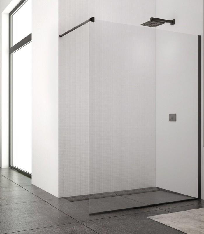 Kabina prysznicowa Walk – In SanSwiss Easy Black, 140x200 cm czarny mat STR4P1400607 @