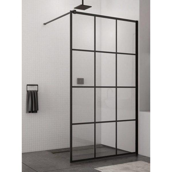 Zdjęcie Kabina prysznicowa Walk – In SanSwiss Loft 75, 100×200 cm czarny mat STR4P1000675 @