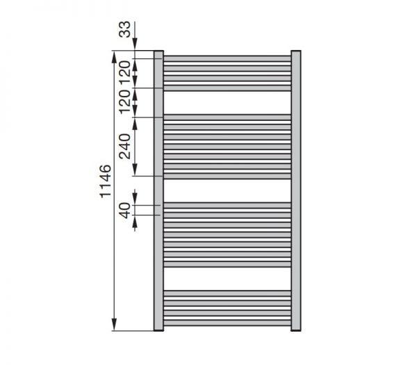 Zdjęcie Grzejnik łazienkowy Zehnder Klaro114,6×50 cm moc: 571 black matt ZSL-120-050-05×0557