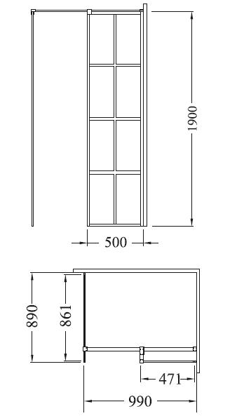 Zdjęcie Kabina prostokątna Walk-In przejrzyste szkło Besco Excea 100x90x190 cm EXC-109-190B