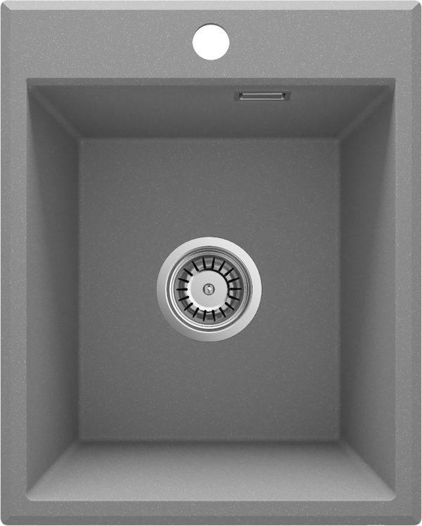 Zdjęcie Deante Eridan Zlewozmywak granitowy 1-komorowy bez ociekacza – szary metalik ZQE_S104