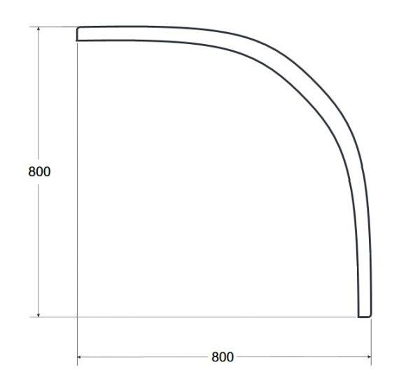 Zdjęcie Obudowa brodzik półokrągły z podwyższonym siedziskiem Besco Oliver II 80x80x21 cm biały OAO-80-II