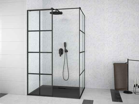 Kabina prostokątna Walk-In przejrzyste szkło Besco Excea 120x80x190 cm EXC-128-190B