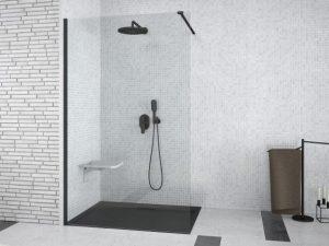 Kabina prysznicowa Walk-In przejrzyste szkło Besco Aveo Black 90x195 cm AVB-90-195C